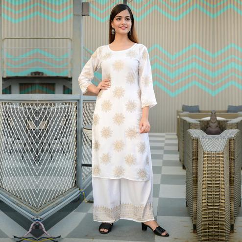 Zyla - White Colored Casual Block Print Rayon Kurti Palazzo Set