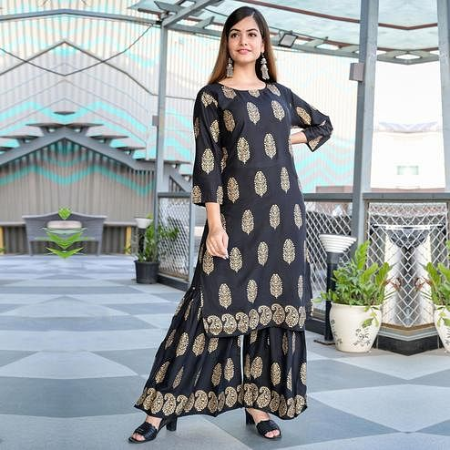 Zyla - Black Colored Casual Block Print Rayon Kurti Sharara Set