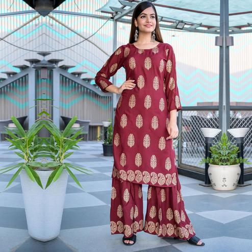 Zyla - Maroon Colored Casual Block Print Rayon Kurti Sharara Set