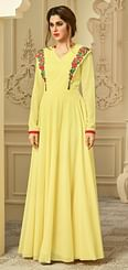 Dazzling Yellow Designer Partywear Embroidered Semi Georgette Gown