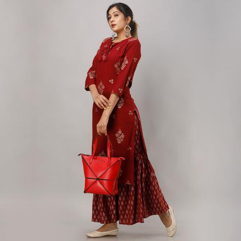 Zyla - Maroon Colored Partywear Foil Printed Rayon Kurti Sharara Set
