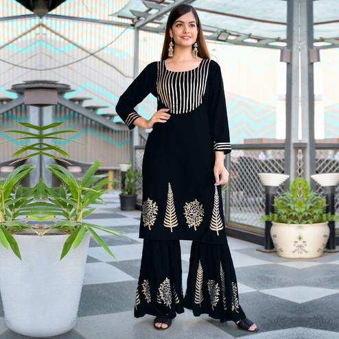 Zyla - Black Colored Partywear Foil Printed Rayon Kurti Sharara Set