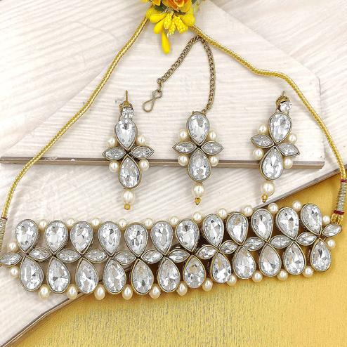 Zaffre Collections - Trendy White Crystal Choker with Earrings for Women and Girls