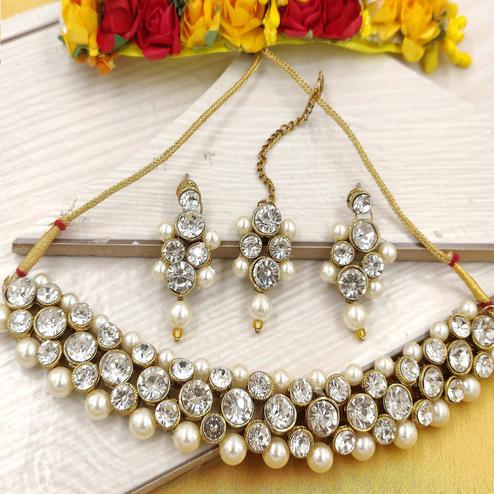 Zaffre Collections - Cute White Crystal and Pearl Choker with Earrings for Women and Girls