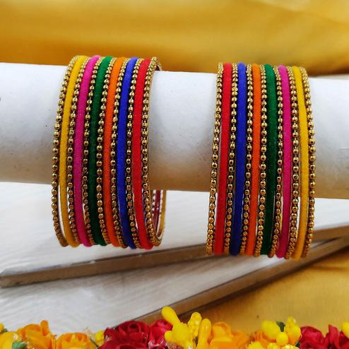 Zaffre Collections - Atttractive Multi Color Glass and Metal Bangles for Women and Girls Set of 2