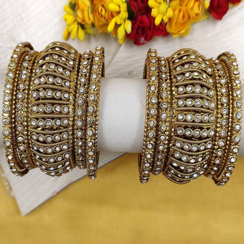 Zaffre Collections - Allure Party Wear Gold Plated Metal Kada and Bangles Set for Women and Girls Set of 2