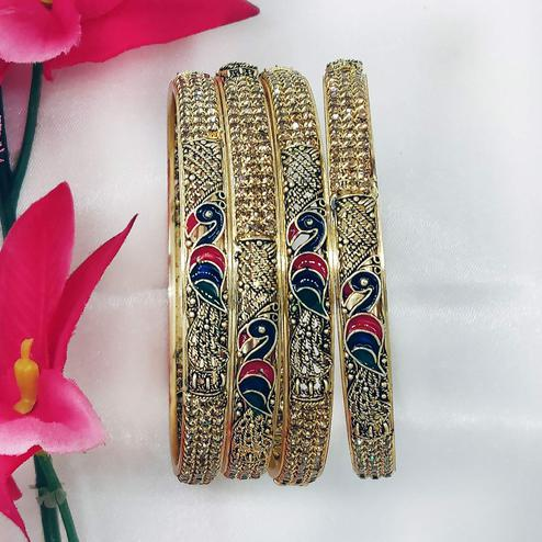 Zaffre Collections - Shimmering Gold Plated Brass Kada Set for Women and Girls Pack of 4 Kada