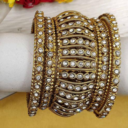 Zaffre Collections - Allure Party Wear Gold Plated Metal Kada and Bangles Set for Women and Girls Set of 1