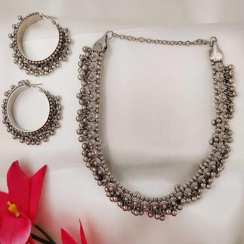 Zaffre Collections - Atrractive Oxidized Silver Necklace with Earrings for Women and Girls