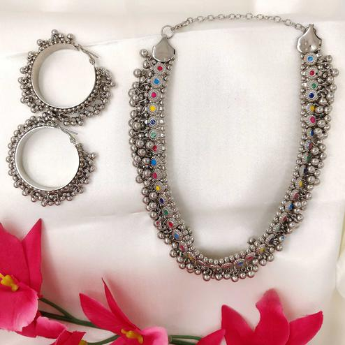 Zaffre Collections - Atrractive Oxidized Silver Multicolor Necklace with Earrings for Women and Girls