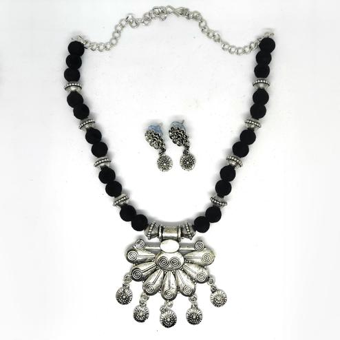 Zaffre Collections - Trending Oxidised Silver Pendant Necklace set with Earrings