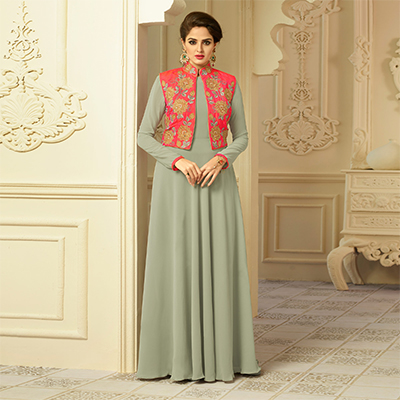 Stunning Gray Designer Partywear Embroidered  Semi Georgette & Cotton Silk Gown