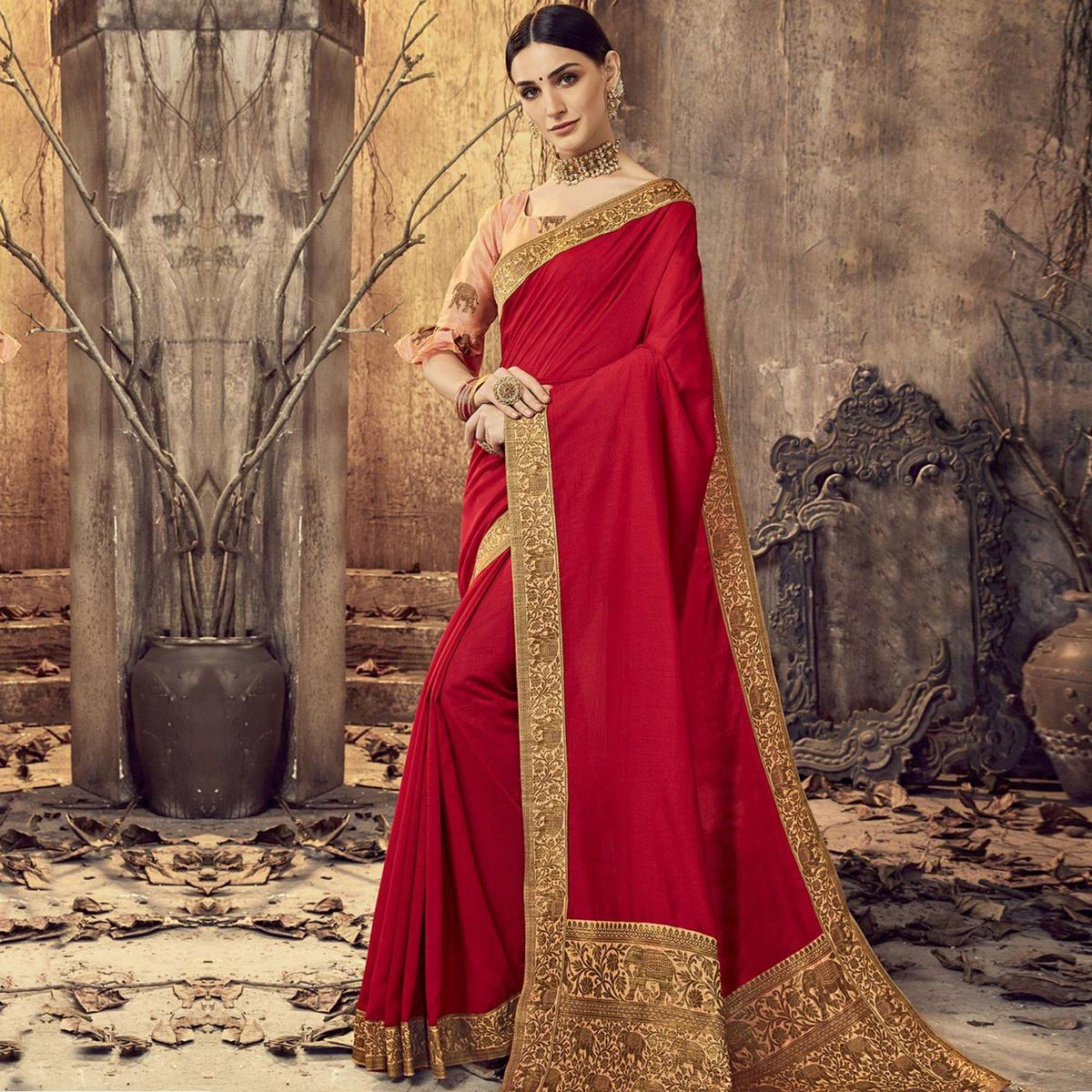 Blissful Red Colored Festive Wear Printed Chanderi Silk Saree With Tassels