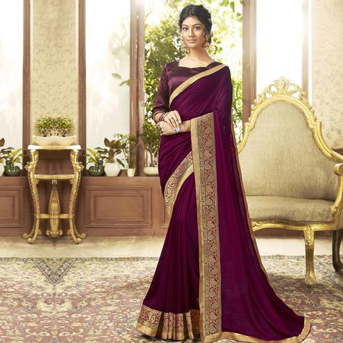 Ravishing Purple Colored Festive Wear Chanderi Silk Saree