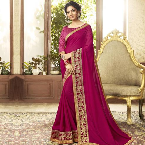 Staring Pink Colored Festive Wear Chanderi Silk Saree