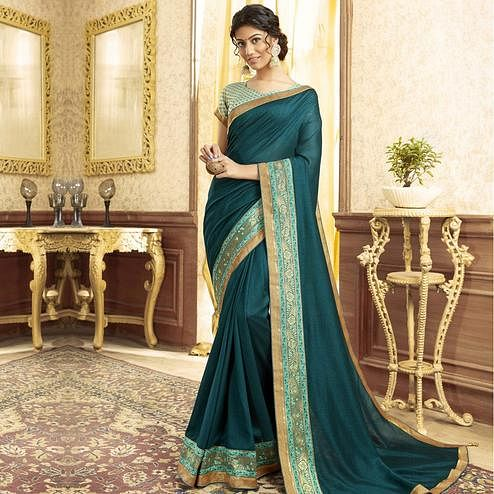 Dazzling Green Colored Festive Wear Chanderi Silk Saree