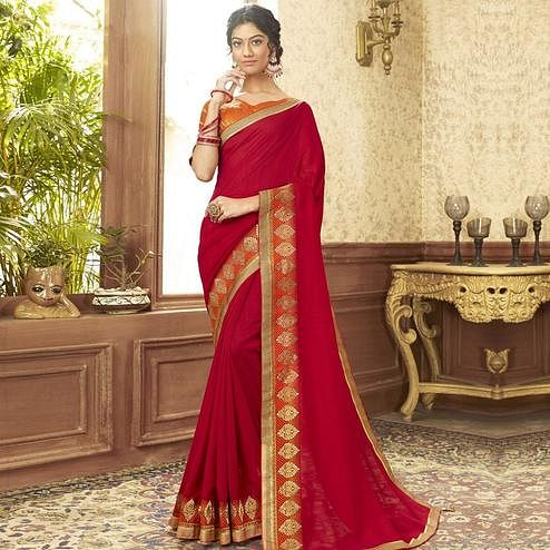 Surpassing Red Colored Festive Wear Chanderi Silk Saree