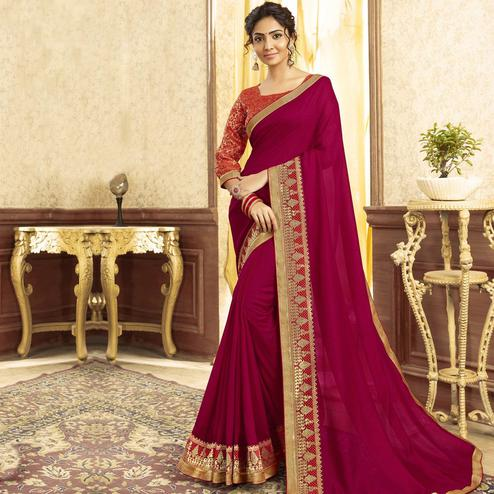 Intricate Magenta Pink Colored Festive Wear Chanderi Silk Saree