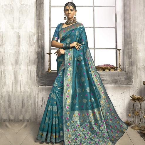 Desirable Turquoise Colored Festive Wear Woven Jacquard Silk Saree