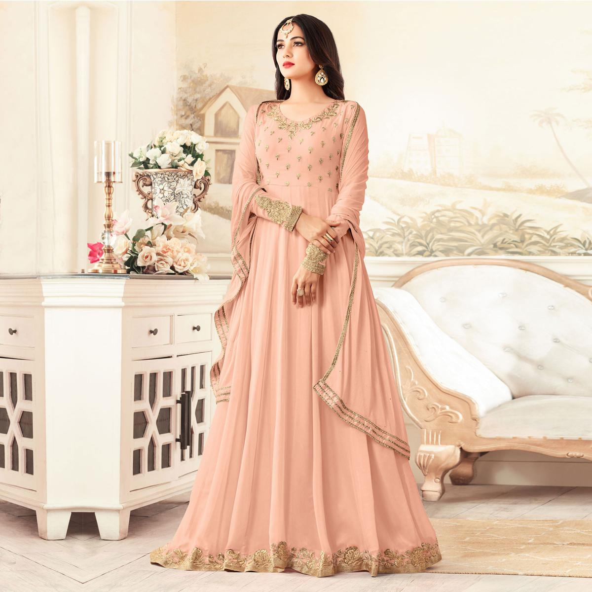 Peach Floral Embroidered Floor Length Georgette Anarkali Suit