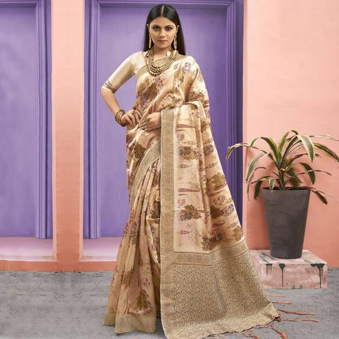 Refreshing Beige Colored Festive Wear Woven Jacquard Silk Saree With Tassels