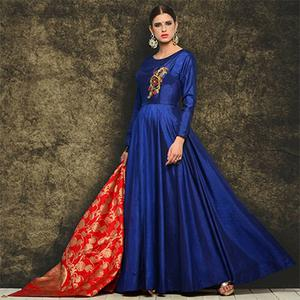 Mesmerising Royal Blue Embroidered Partywear Tapetta Silk Gown