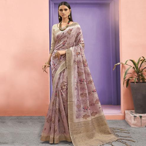 Flattering Pink Colored Festive Wear Woven Jacquard Silk Saree With Tassels