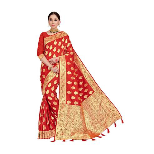 Amegh - Red Colored Festive Wear Woven Pure Silk Saree With Tassels