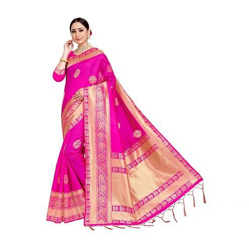 Amegh - Dark Pink Colored Festive Wear Woven Banarasi Silk Saree With Tassels