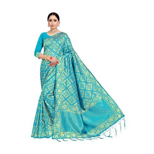 Amegh - Sky Blue Colored Festive Wear Woven Banarasi Silk Saree With Tassels