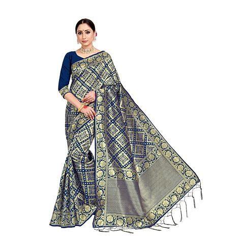 Amegh - Dark Blue Colored Festive Wear Woven Banarasi Silk Saree With Tassels