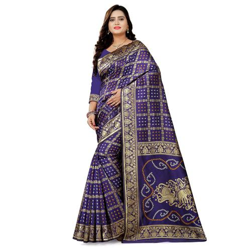 Classy Navy Blue Colored Festive Wear Bandhani Print Cotton Silk Saree