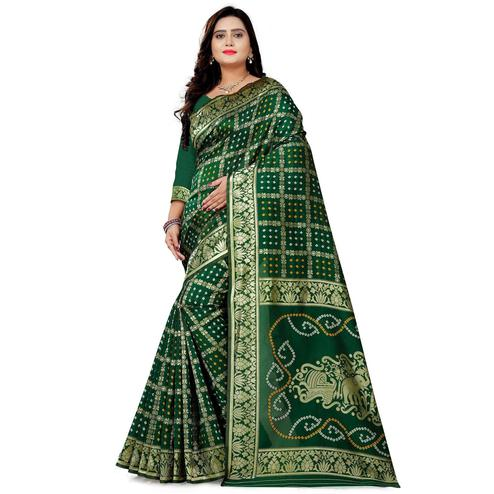 Prominent Green Colored Festive Wear Bandhani Print Cotton Silk Saree