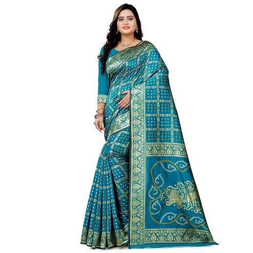 Appealing Blue Colored Festive Wear Bandhani Print Cotton Silk Saree