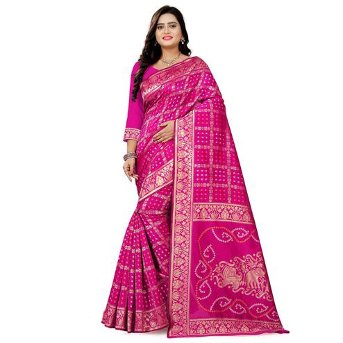 Capricious Pink Colored Festive Wear Bandhani Print Cotton Silk Saree