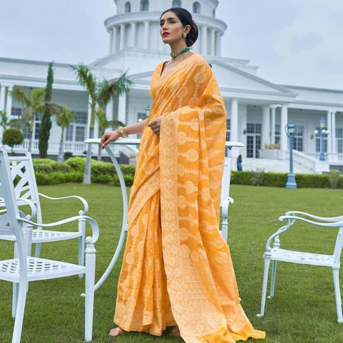 Pretty Yellow Colored Festive Wear Woven Chanderi Saree