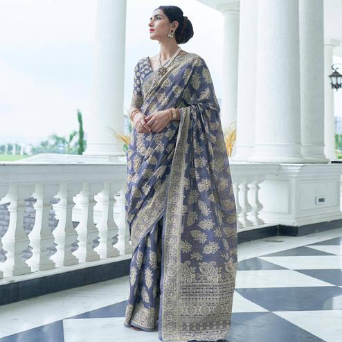 Alluring Blue Colored Festive Wear Woven Chanderi Saree