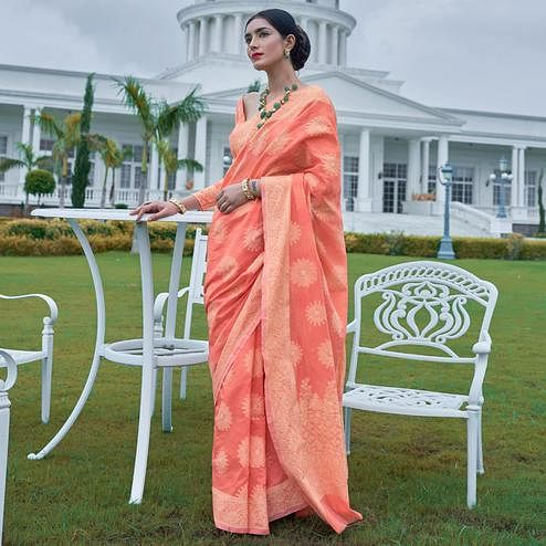 Flaunt Peach Colored Festive Wear Woven Chanderi Saree