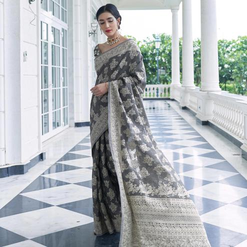Stunning Grey Colored Festive Wear Woven Chanderi Saree