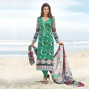 Charming Green Printed Cotton Dress Material