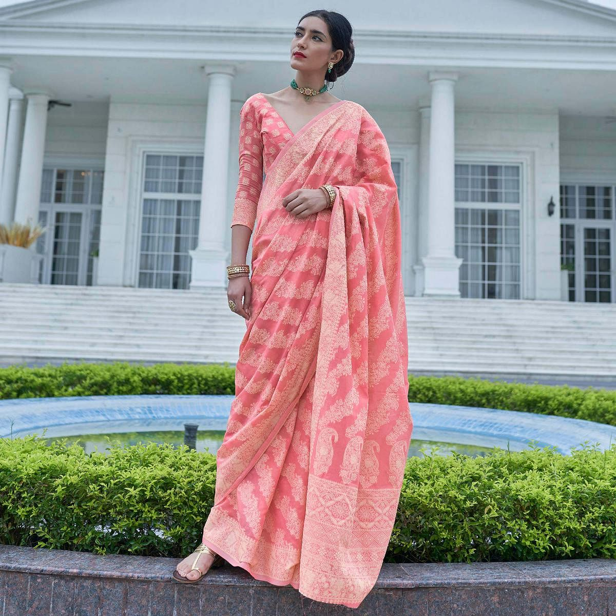 Flirty Pink Colored Festive Wear Woven Chanderi Saree