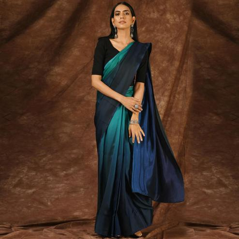 Arresting Shaded Blue Colored Party Wear Satin Saree