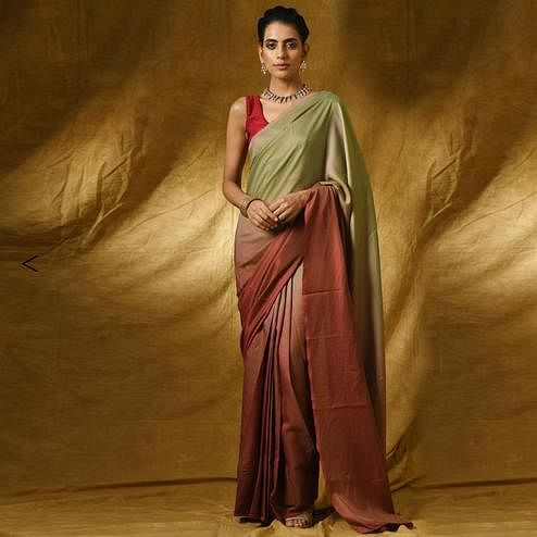 Exotic Shaded Brown-Green Colored Party Wear Satin Saree