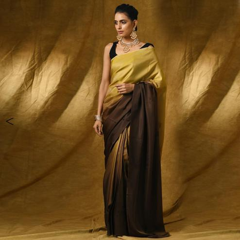 Elegant Shaded Beige-Brown Colored Party Wear Satin Saree
