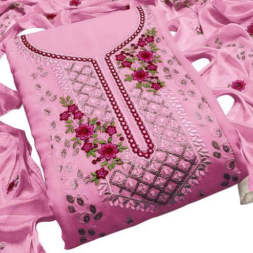 Pretty Pink Colored Partywear Embroidered Georgette Dress Material