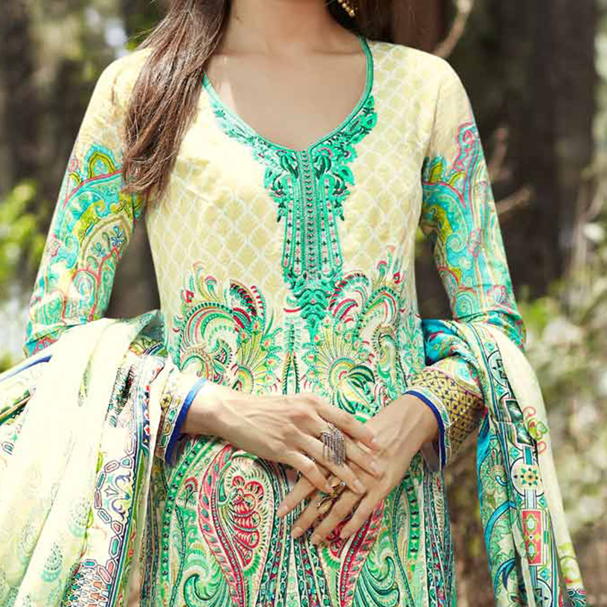 Graceful Cram-Green Printed Cotton Dress Material
