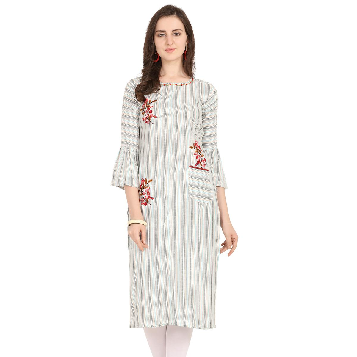 Arresting Off White-Blue Colored Party Wear Embroidered Work Rayon Kurti