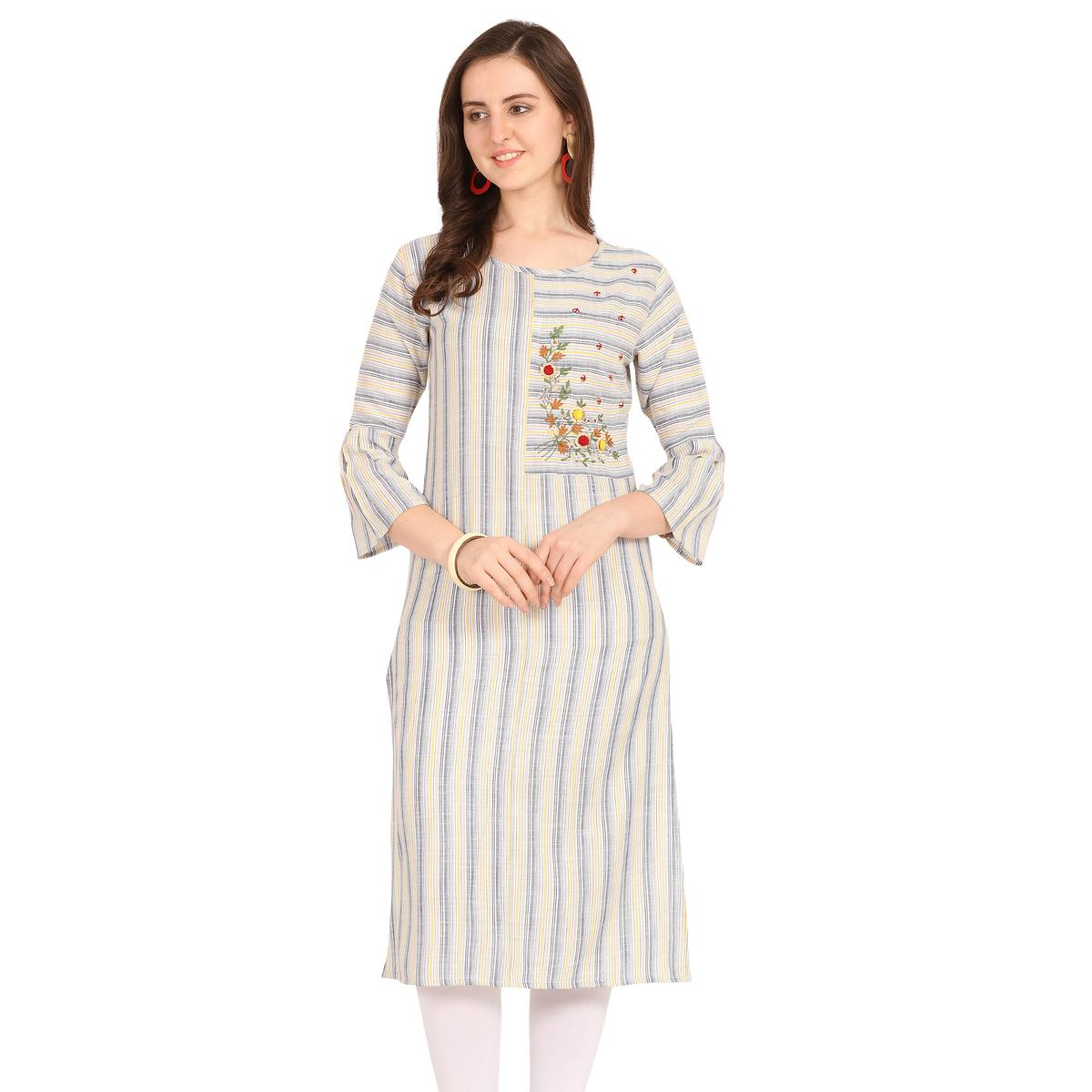 Desirable Off White-Yellow Colored Party Wear Embroidered Work Rayon Kurti