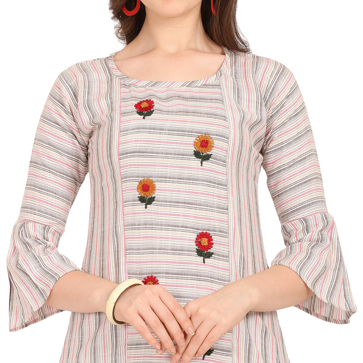 Exotic Off White-Pink Colored Party Wear Embroidered Work Rayon Kurti