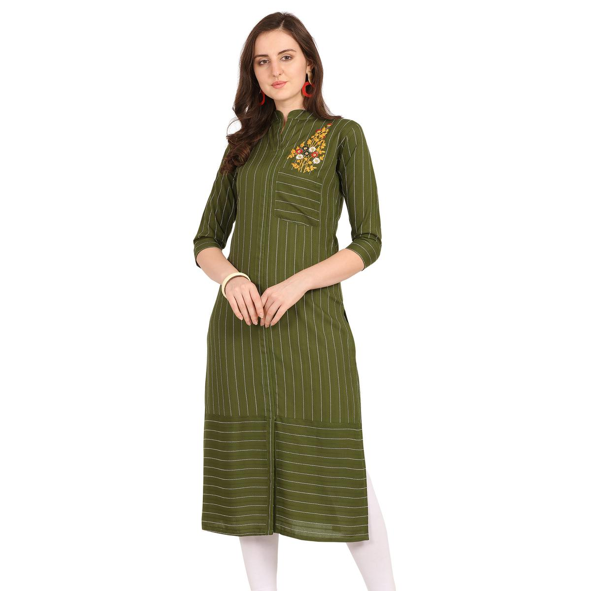 Trendy Green Colored Party Wear Embellished Work Rayon Kurti